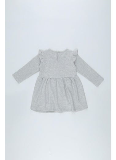DeFacto Kız Bebek Baskılı Selanik Kumaş Elbise Gri